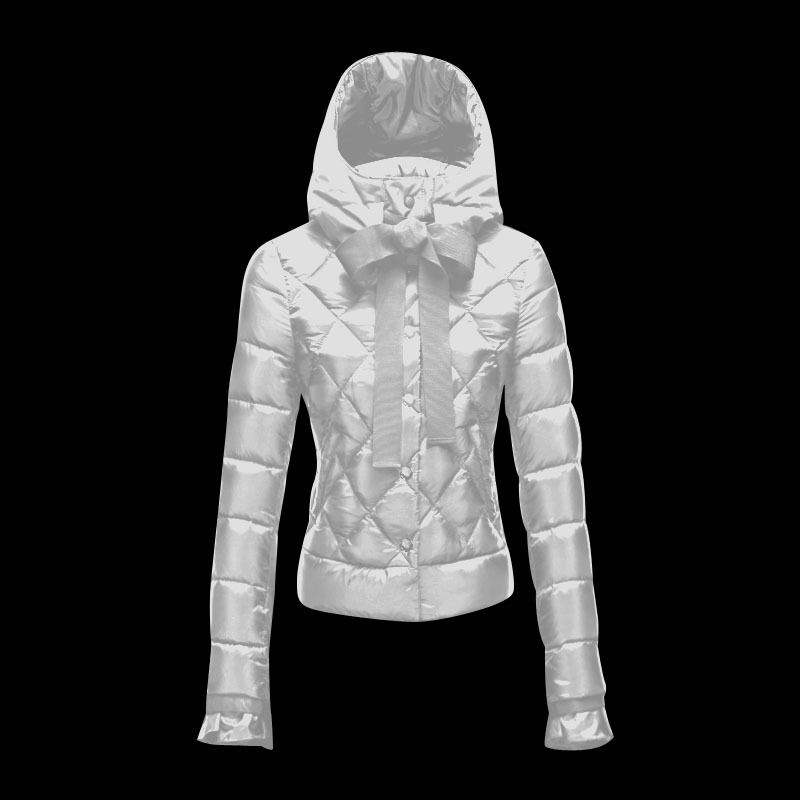 Cheap Moncler Down Coats Women Zipper Cuffs White MC1517 Sale